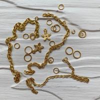 Пирсинг ногтей mix (кольца, цепочки, цветочки), золото