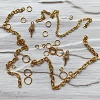 Пирсинг ногтей mix (кольца, цепочки, ракушки), золото