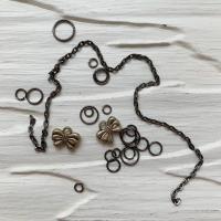 Пирсинг ногтей mix (кольца, цепочки, бантики), черный