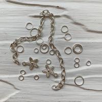 Пирсинг ногтей mix (кольца, цепочки, цветочки), серебро