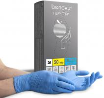Перчатки нитриловые Бенови Benovy, текстурированные на пальцах, голубые S, 50 пар