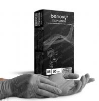 Перчатки нитриловые Бенови Benovy, текстурированные на пальцах, серые, S