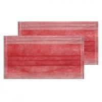 Маска 3-х слойная в коробке, красная(с фильтром мелтблаун), 50шт