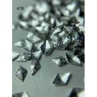 Металлический дизайн РОМБ рифленый объём серебро, размер S (арт. 478)