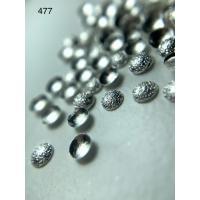 Металлический дизайн ПОЛУСФЕРА рифленая объём серебро, размер S (арт. 477)