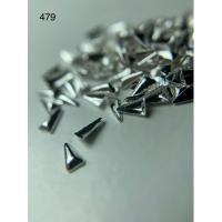 Металлический дизайн ТРЕУГОЛЬНИК рифленый объём серебро, размер S (арт. 479)