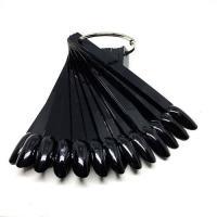 Типсы на кольце черные миндаль Monami, 50шт