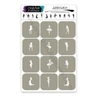 Трафареты для аэрографии на ногтях Девушки OneAir