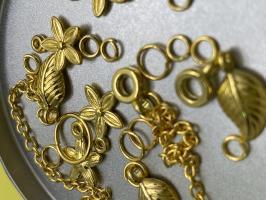Пирсинг ногтей set 'Листики&Цветочки' (золото)