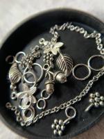 Пирсинг ногтей set 'Лесной с желудями' (серебро)