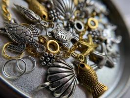 Пирсинг ногтей set 'Морской с золотой рыбкой'