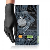 Перчатки нитриловые Бенови Benovy, текстурированные на пальцах, черные, ХS