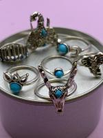 Набор винтажных колец для фото №46 (серебро)