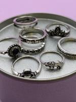 Набор винтажных колец для фото №49 (серебро)