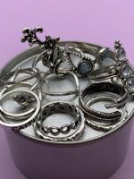 Набор винтажных колец для фото №61 (серебро)