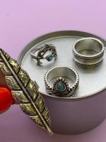 Набор винтажных колец для фото №65 (серебро)