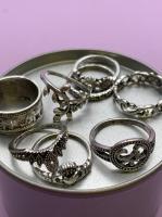 Набор винтажных колец для фото №62 (серебро)