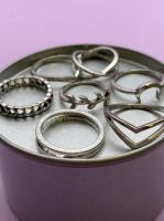 Набор винтажных колец для фото №69 (серебро)