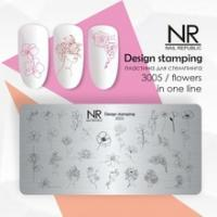 Пластина для стемпинга Flowers in one line №3005, NR