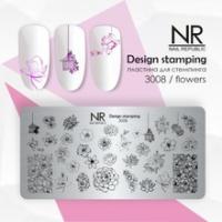 Пластина для стемпинга Flowers №3008, NR