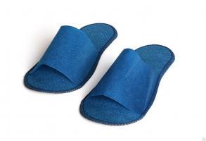 Тапочки одноразовые на жесткой подошве, синие, 1 пара